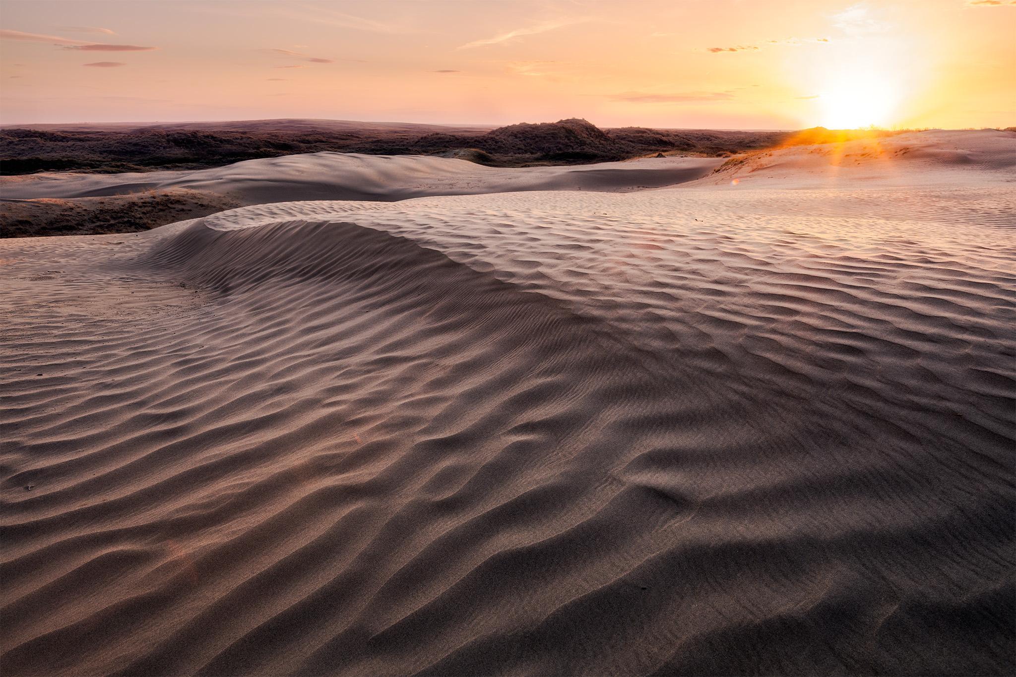 The sun sets on the landscape at the Great Sandhills, Saskatchewan.
