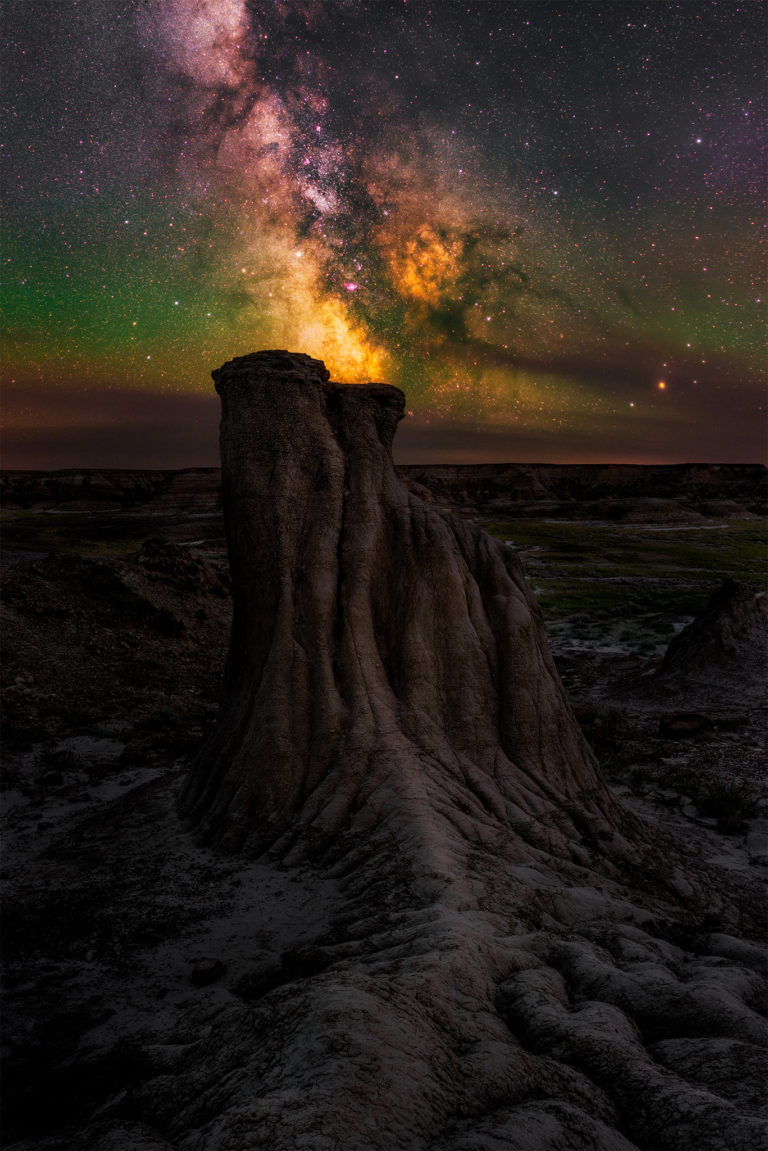 An Avonlea, Saskatchewan hoodoo with the milky way behind