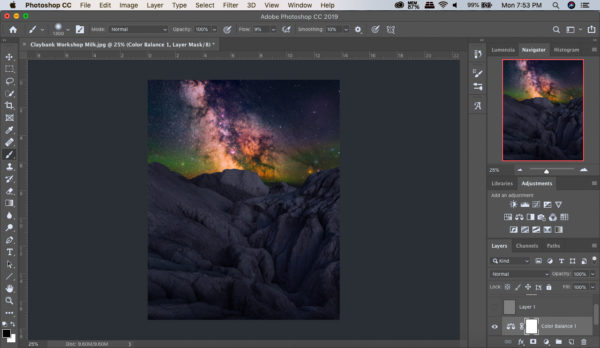 Screenshot of a Landscape Astrophotography post processing video. Astro blending techniques