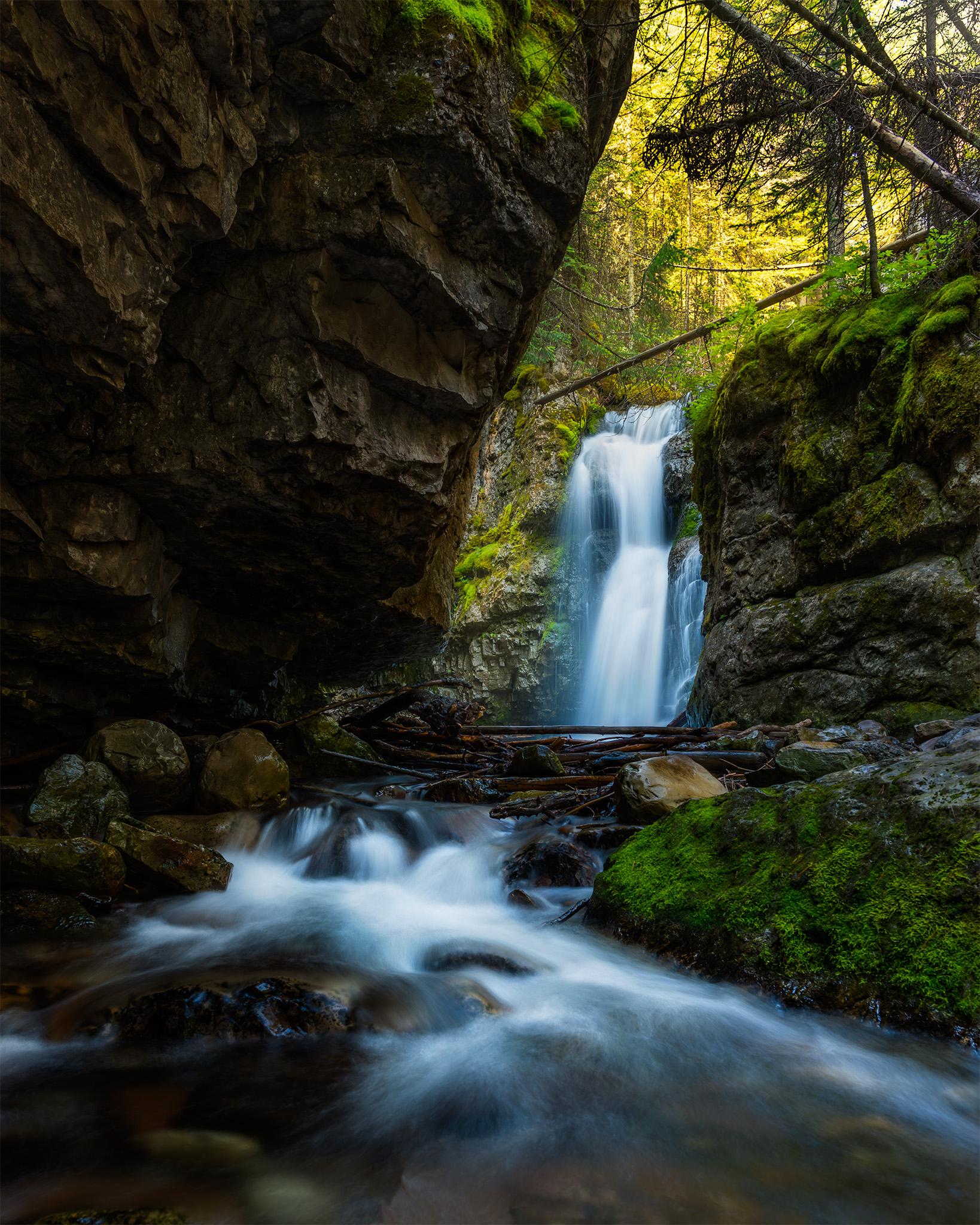 A landscape photograph of Troll Falls in Kananaskis Alberta.