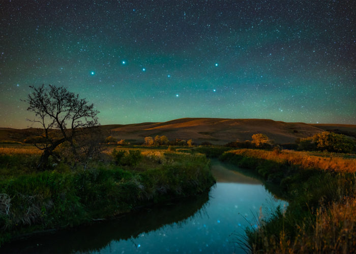 A night photograph of the constellation Ursa Major or the Big Dipper shines brightly over a Saskatchewan river with a tree in fall