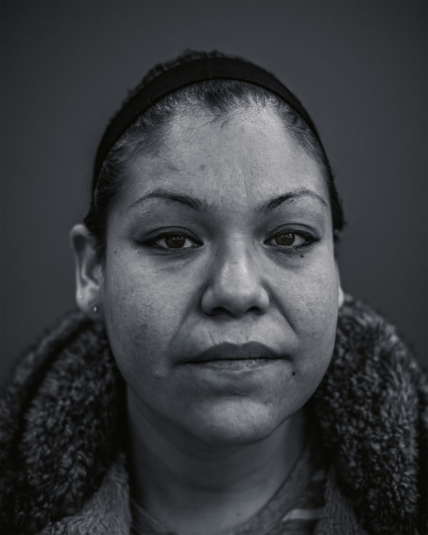 A portrait photograph of a homeless woman in Regina, Saskatchewan