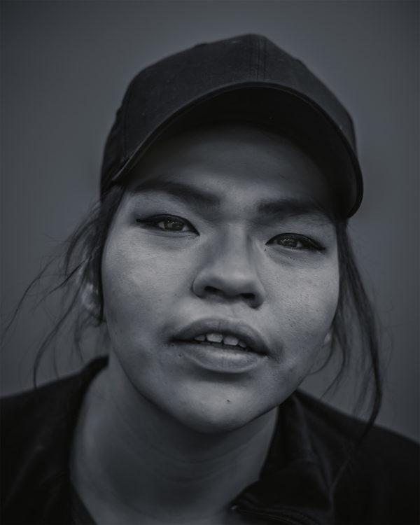 A portrait photograph of a homeless woman in Regina, Saskatchewan