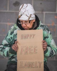 A portrait of a homeless woman in Regina, Saskatchewan