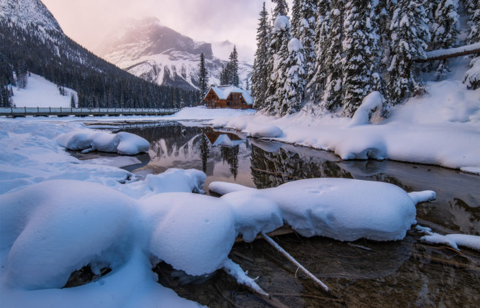 Landscape Photography at Emerald Lake, BC. The light hits the peaks behind the lodge