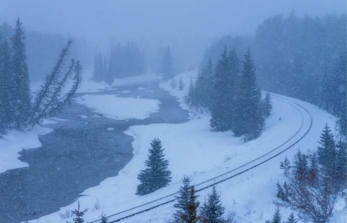 Landscape Photography in a snowstorm at Morant's Curve in the Canadian Rockies, Alberta
