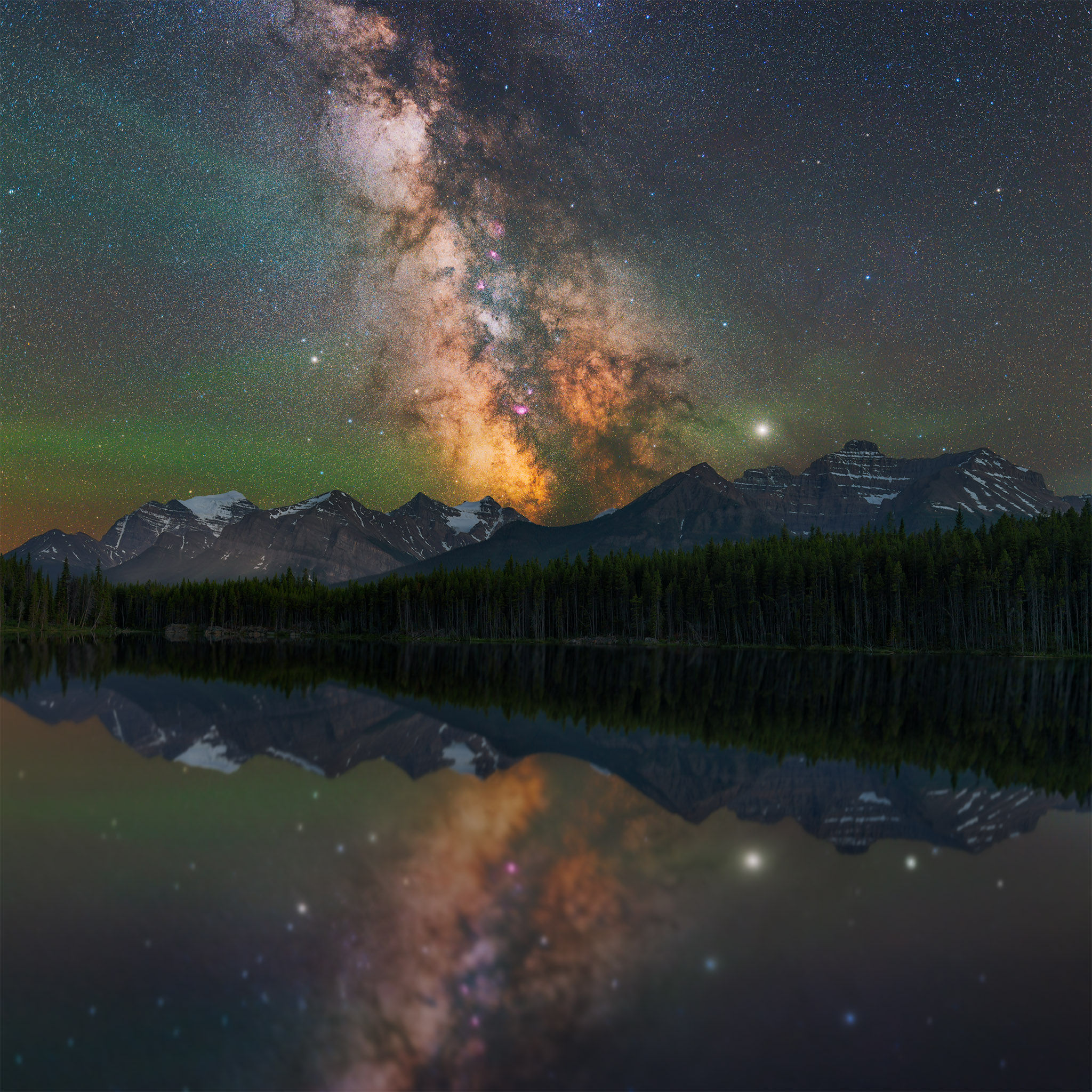 The milky way over Herbet Lake in Banff National Park
