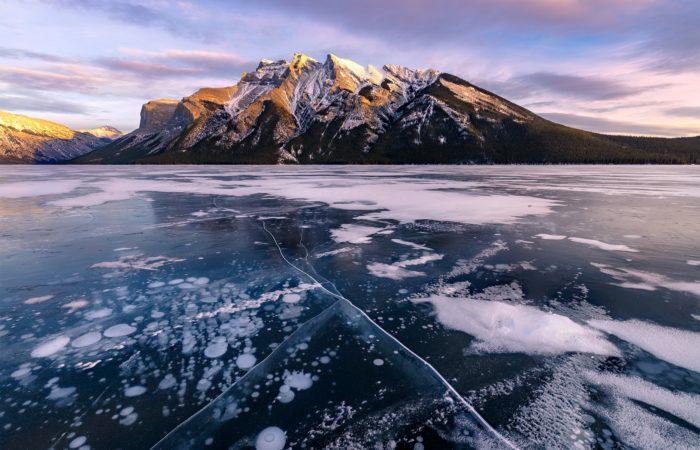 Ice bubbles in the Canadian Rockies on Lake Minnewanka