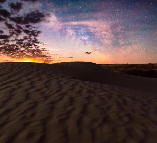 Moonrise and summer milky way in Saskatchewan