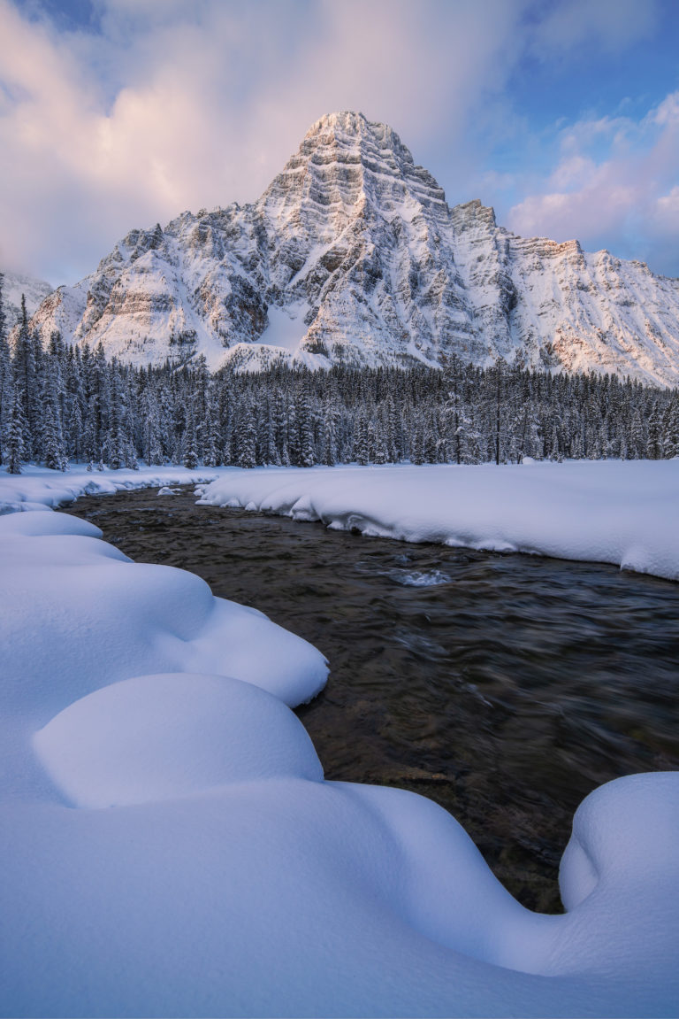 A landscape photograph of Mount Chephren in the Canadian Rockies