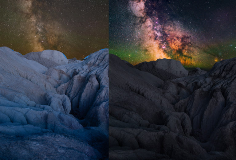Before and After of a Photoshop tutorial for landscape astrophotography