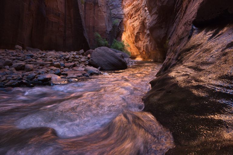 An example of reflected light bouncing off a canyon wall in the landscape