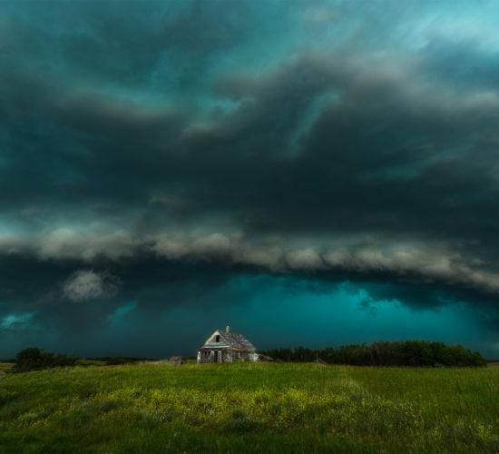 Saskatchewan Storm over an abandoned house. A supercell thunderstorm on July 12, 2020 near Melville, Saskatchewan