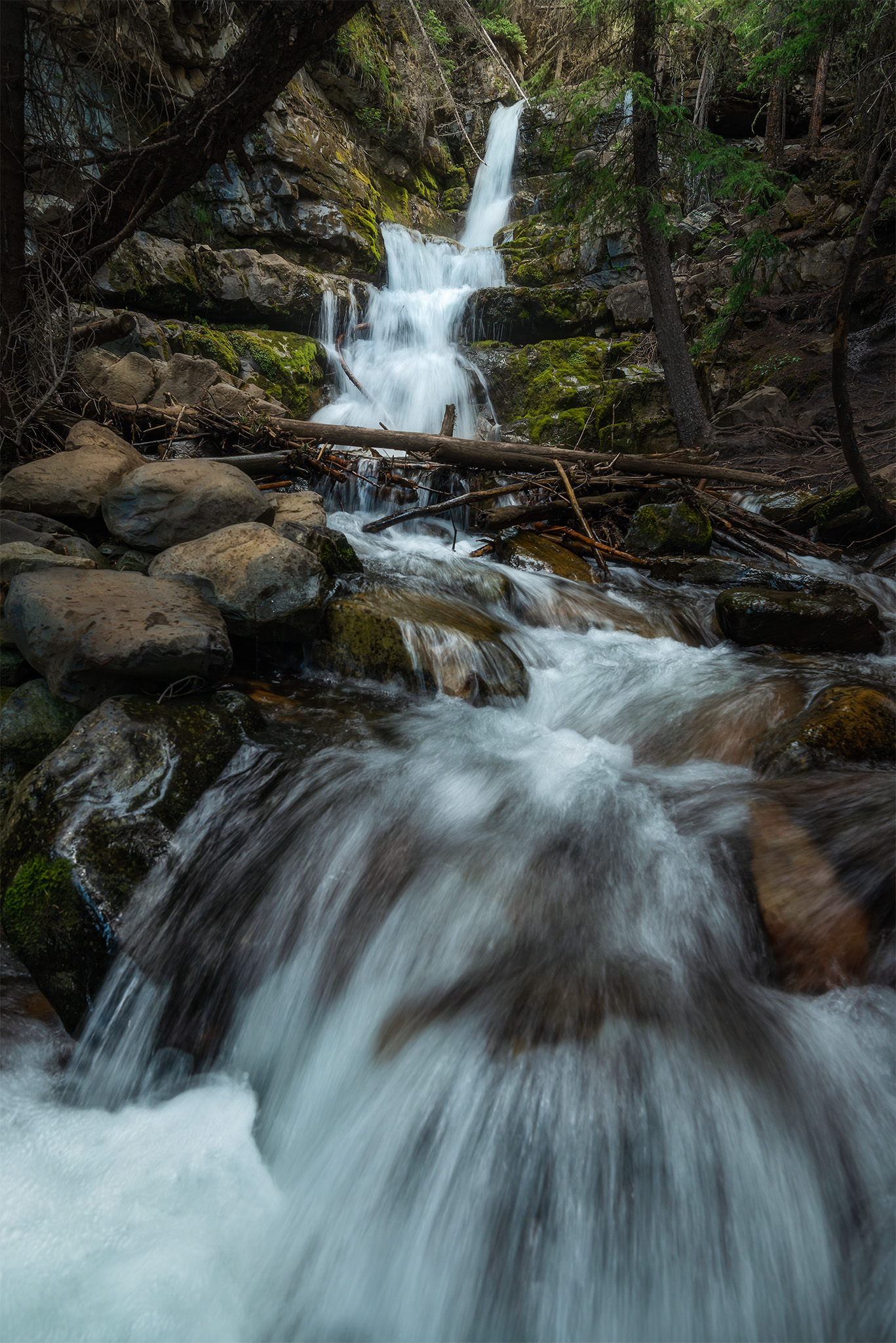 A nature photograph of the popular Troll Falls in Kananaskis Country
